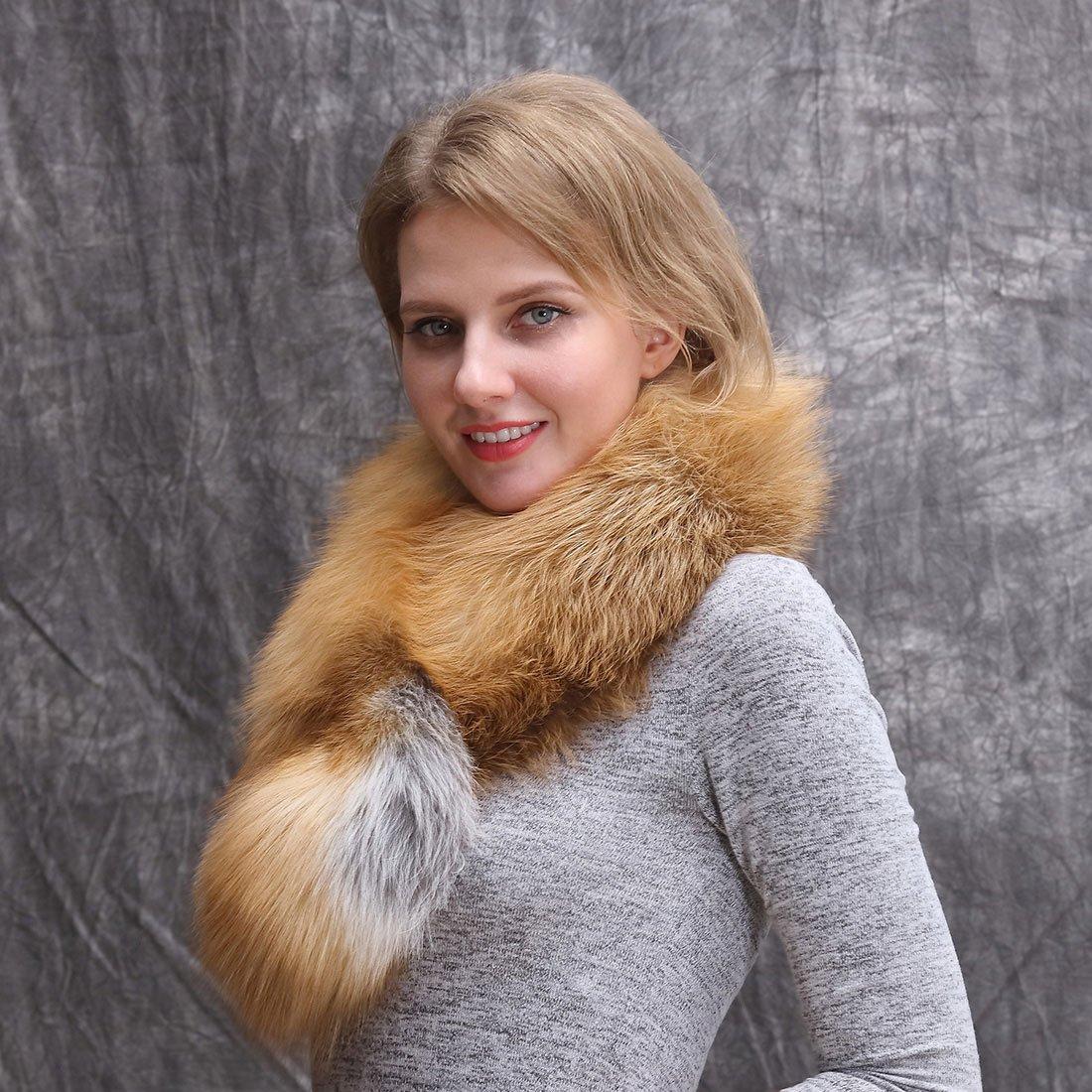Real Fox Fur Scarf for Women-Sleeveless Fur Shawl,Neck Warm Fur Collar for Evening Party Wedding Gift-006