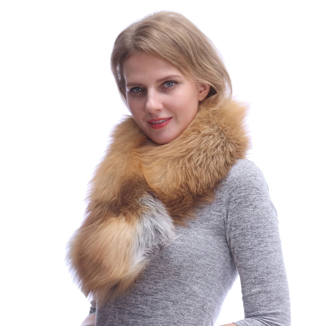 Real Fox Fur Scarf for Women-Sleeveless Fur Shawl,Neck Warm Fur Collar for Evening Party Wedding Gift-001