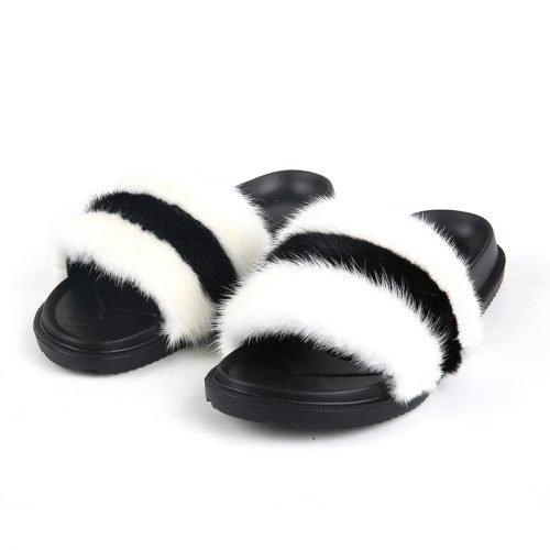 ladies fur slippers