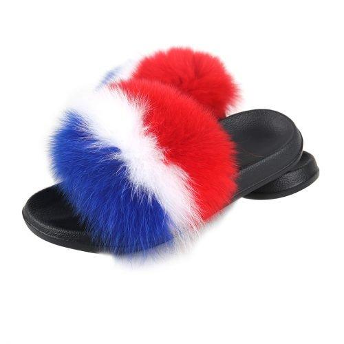 ladies Fox Fur slides
