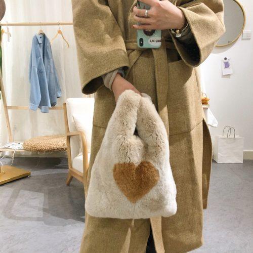 Rex rabbit fur handbag