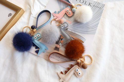 Mink Fur Pom Ball Keychain